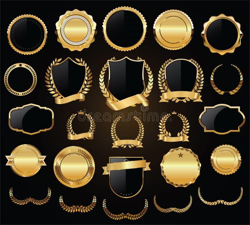 Guld- samling för vektor för för sköldlagerkransar och emblem vektor illustrationer