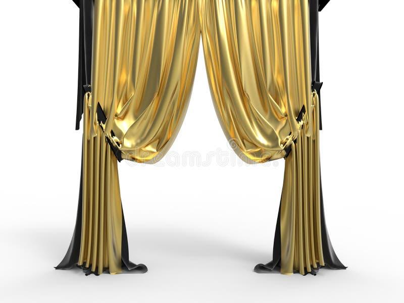 Guld- sammetgardiner royaltyfri illustrationer