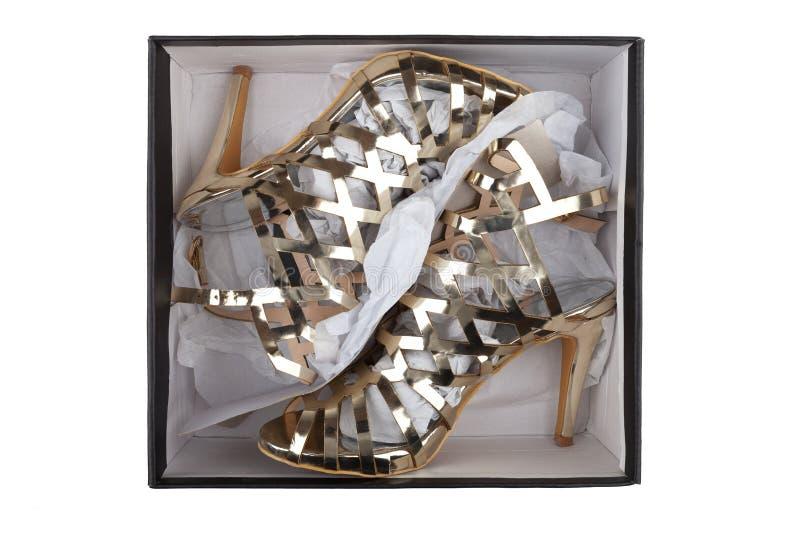 Guld- sandaler i en ask royaltyfria foton