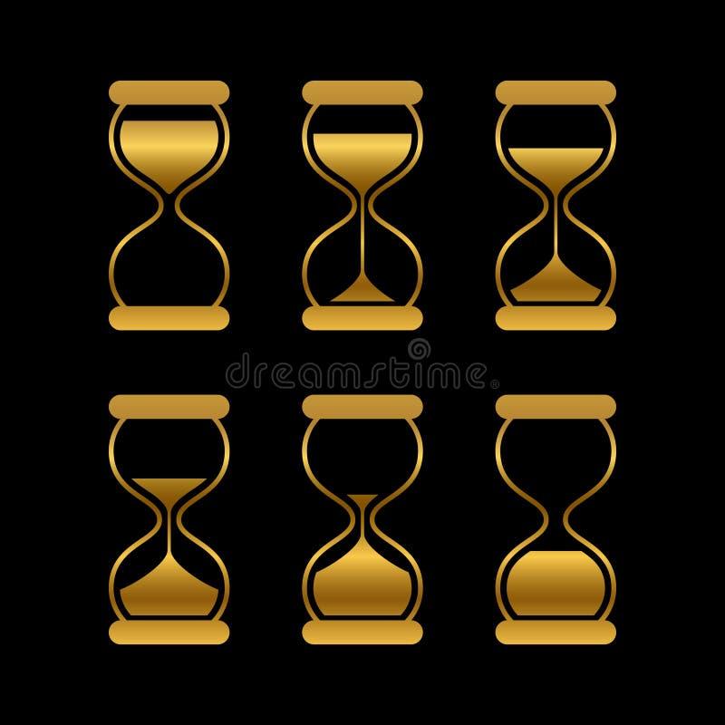 Guld- sander av tid, timglasvektor isolerade symboler vektor illustrationer