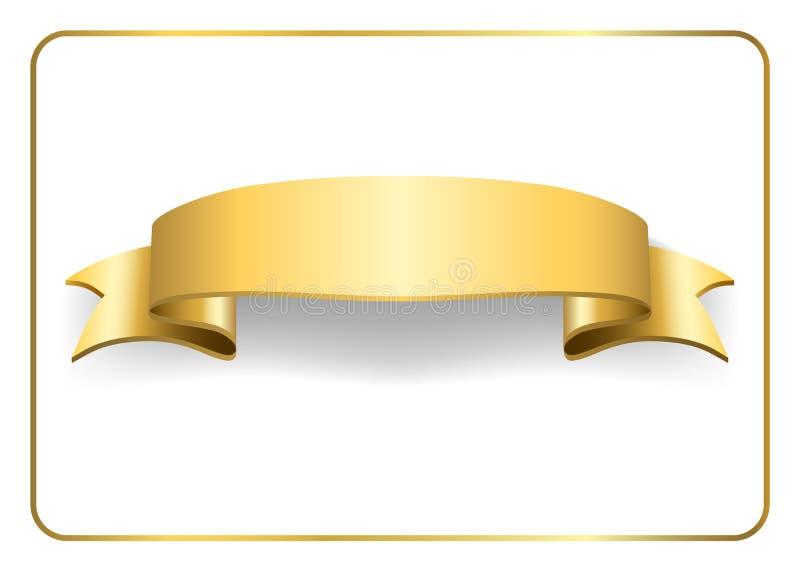 Guld- satängband på vit 2 vektor illustrationer
