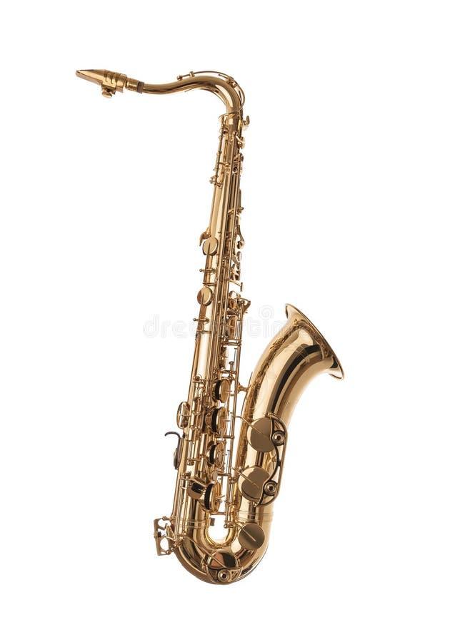 Guld- saxofon som isoleras på vit royaltyfria foton