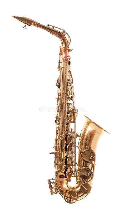 Guld- saxofon som isoleras på vit arkivfoton