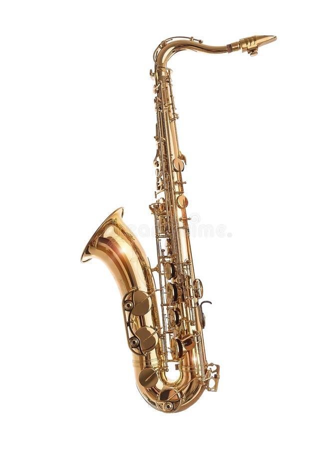 Guld- saxofon som isoleras på vit royaltyfri bild