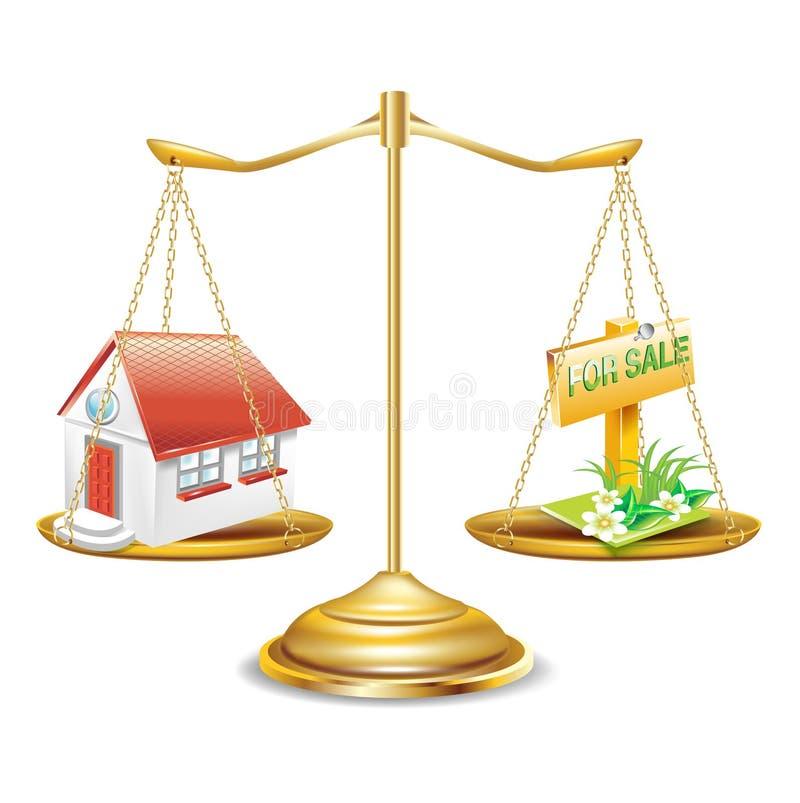 Guld- scales med huset och det till salu tecknet royaltyfri illustrationer