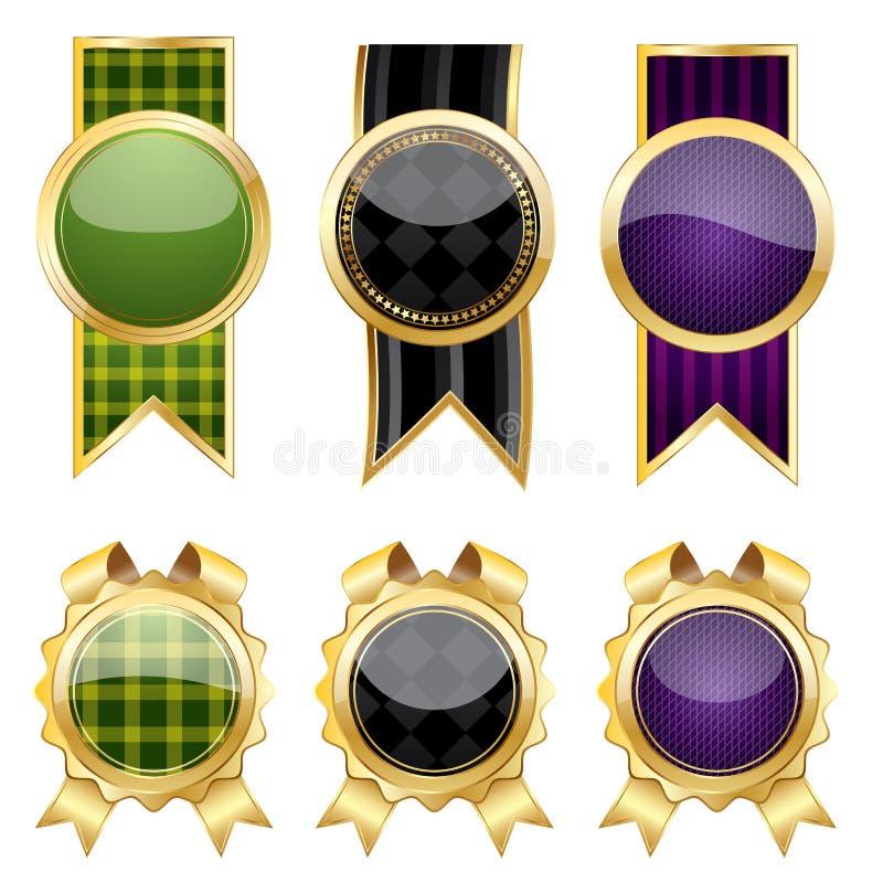 guld- setteckenvektor royaltyfri illustrationer