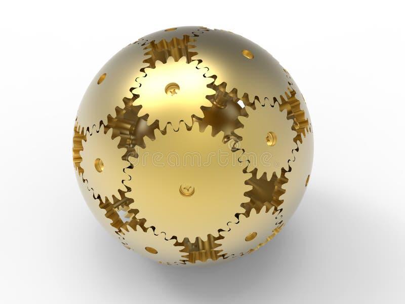 Guld- sfär av kugghjul stock illustrationer