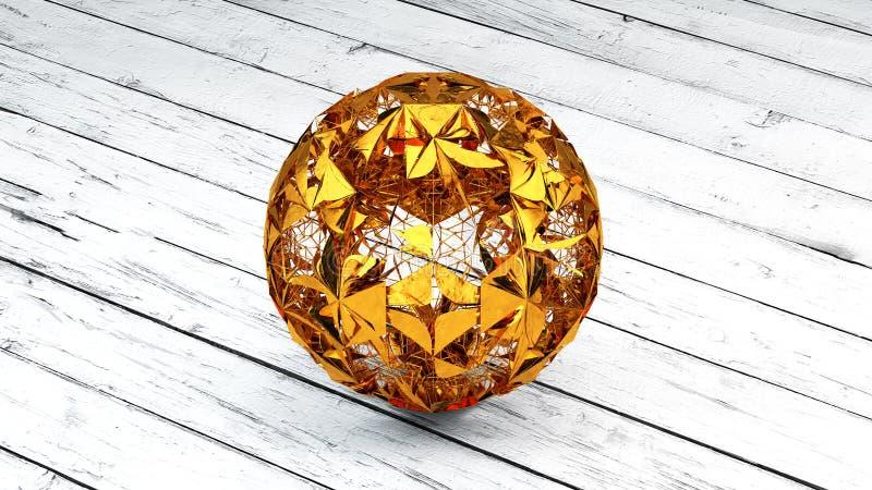 Guld- sfär, planet, Plexus Conections, tolkning 3D royaltyfria foton
