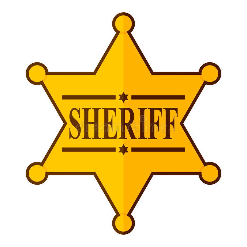 Guld- sheriffStar Badge Flat symbol på vit vektor illustrationer