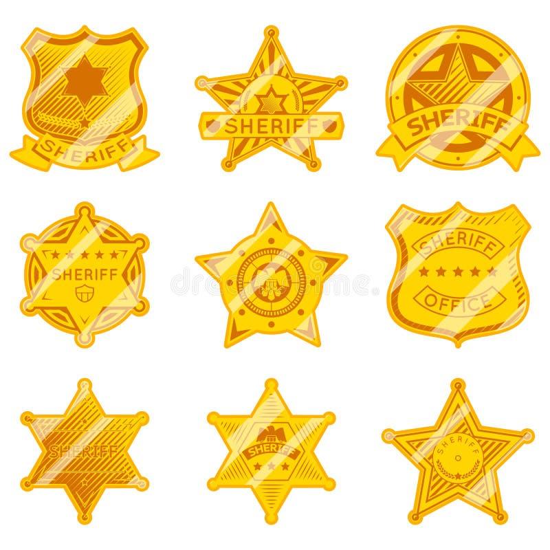 Guld- sheriffstjärnaemblem royaltyfri illustrationer