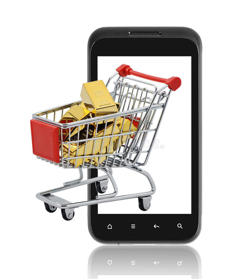 Guld- shopping på mobil. royaltyfria bilder