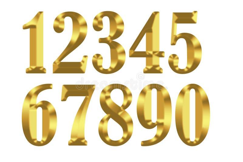 Guld- siffror på vit bakgrund vektor illustrationer