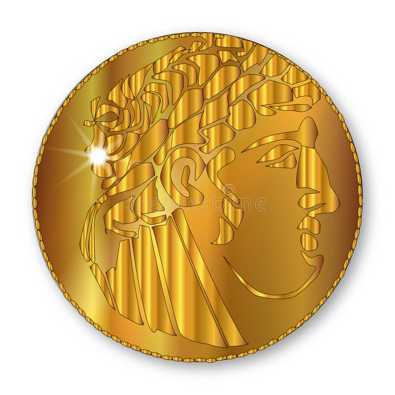 Guld- sikel royaltyfri illustrationer
