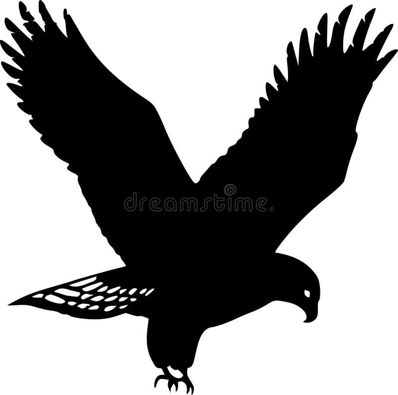 guld- silhouette för örn royaltyfri illustrationer
