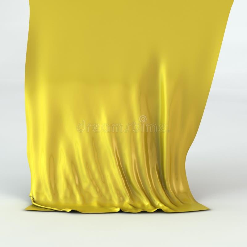 Guld- Silk För Gardin Royaltyfria Bilder