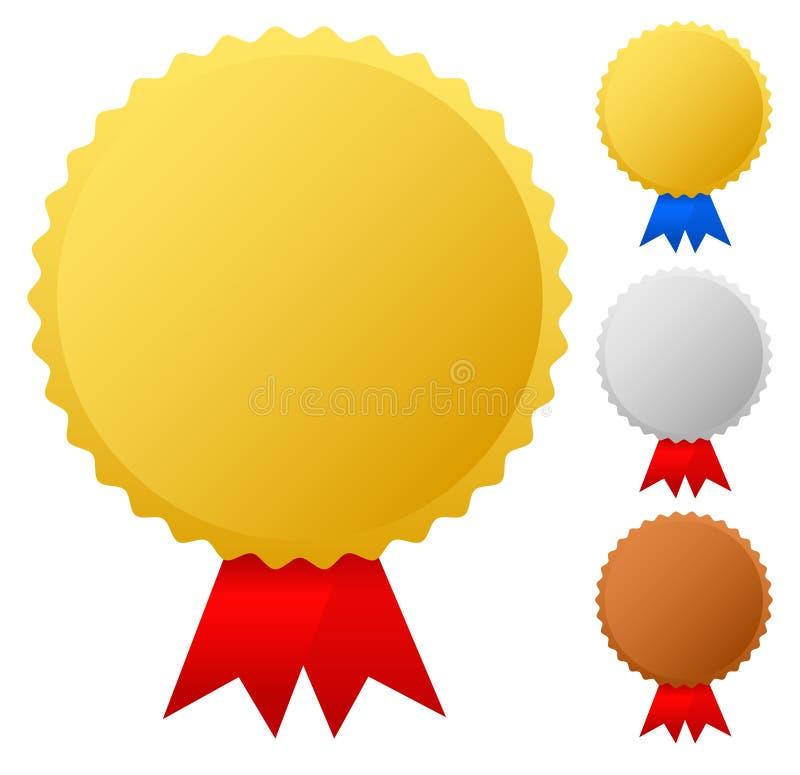 Guld silver, bronsmedaljer stock illustrationer
