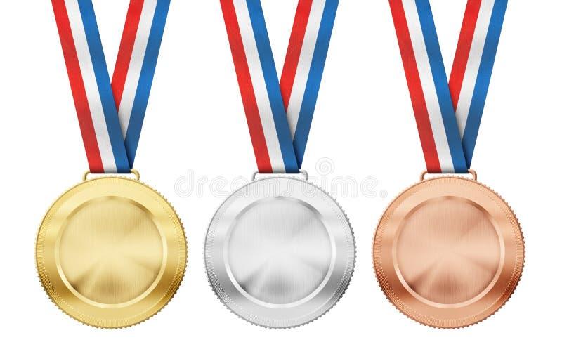Guld silver, bronsmedaljer med det isolerade bandet stock illustrationer