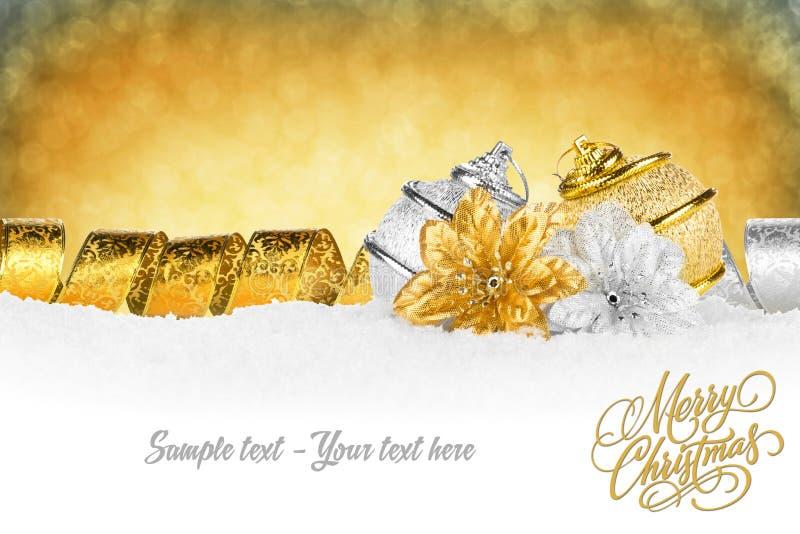 Guld- silver för Xmas-kort fotografering för bildbyråer