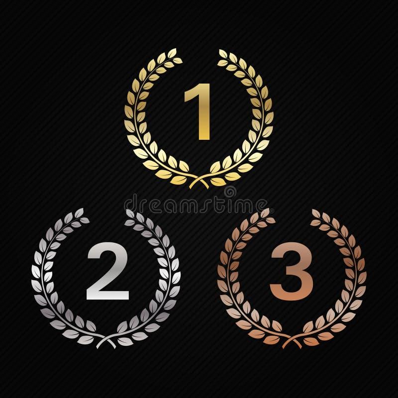 Guld-, silver och brons Laurel Wreaths Utmärkelser för vinnare Hedra mästare Tecken för 1st, 2nd och 3rd ställen royaltyfri illustrationer
