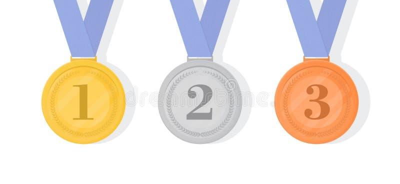 Guld, silver och brons tilldelar medaljer med band Först andra royaltyfri illustrationer