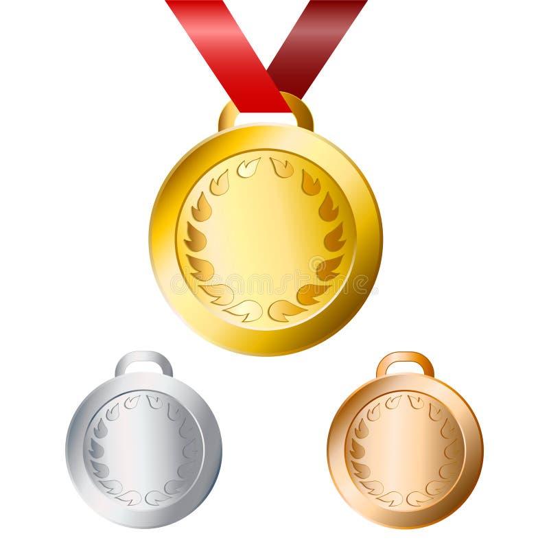 Guld, silver och bronsmedaljer för vinnare med det röda bandet, stoc royaltyfri illustrationer