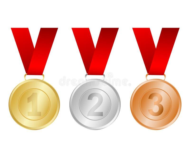 Guld, silver och bronsmedaljer för vinnarna royaltyfri illustrationer