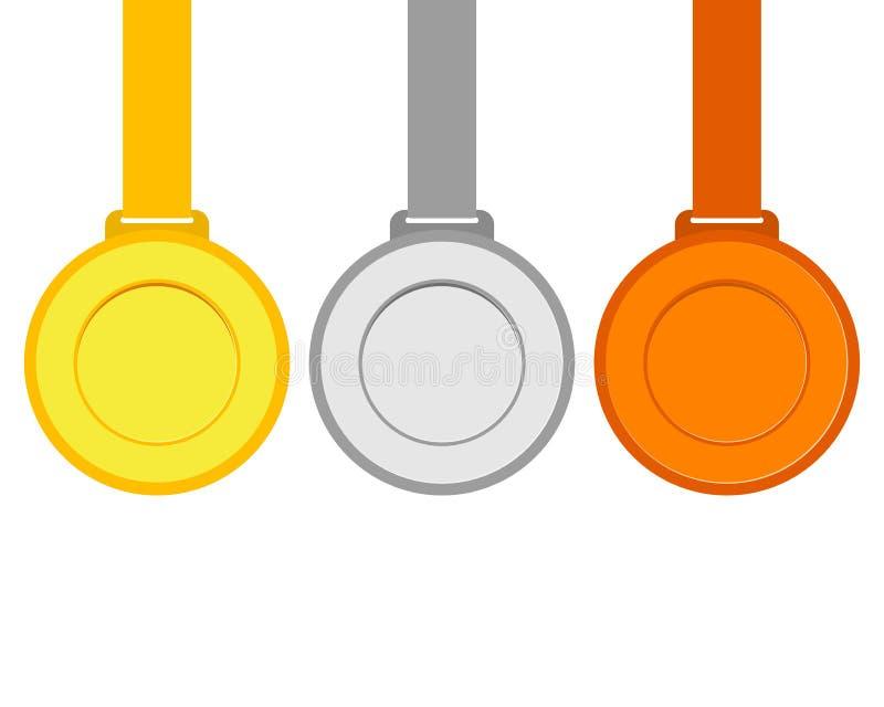 Guld, silver och bronsmedaljer för vinnarna av mästarna stock illustrationer