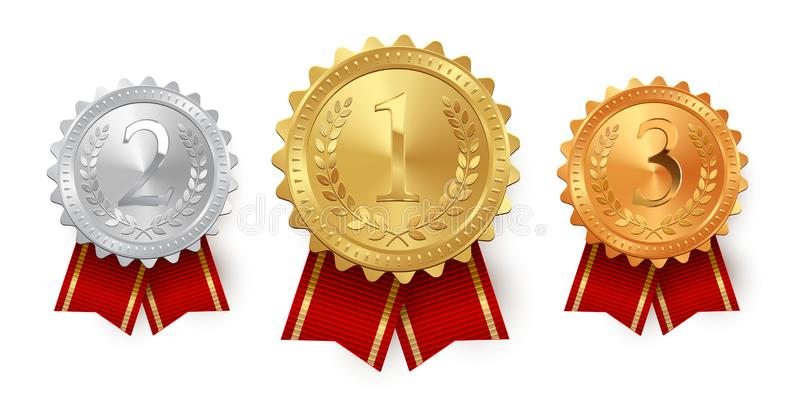 Guld, silver och bronsmedaljer med röda band som isoleras på vit bakgrund den lätta designen redigerar elementet till vektorn royaltyfri illustrationer