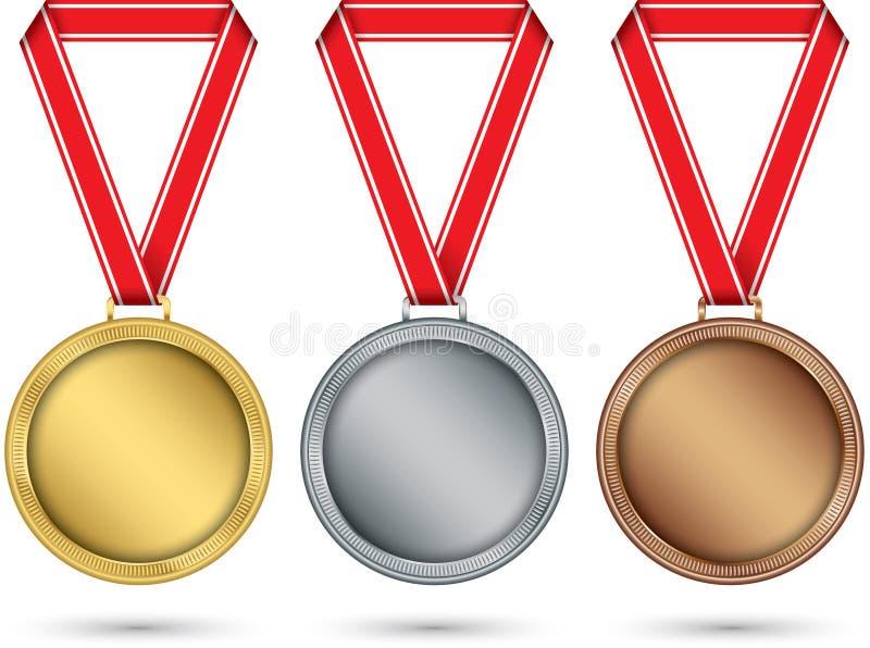 Guld, silver och bronsmedaljer, medaljuppsättning med det röda bandet, vektorillustration vektor illustrationer
