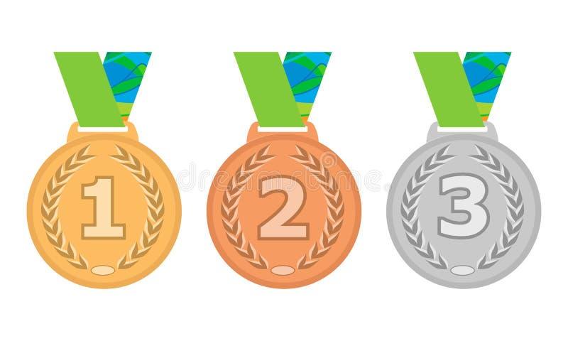 Guld-, silver- och bronsmedaljsymbolsuppsättning Vektor isolerade medaljer på vit bakgrund eps10 royaltyfri illustrationer