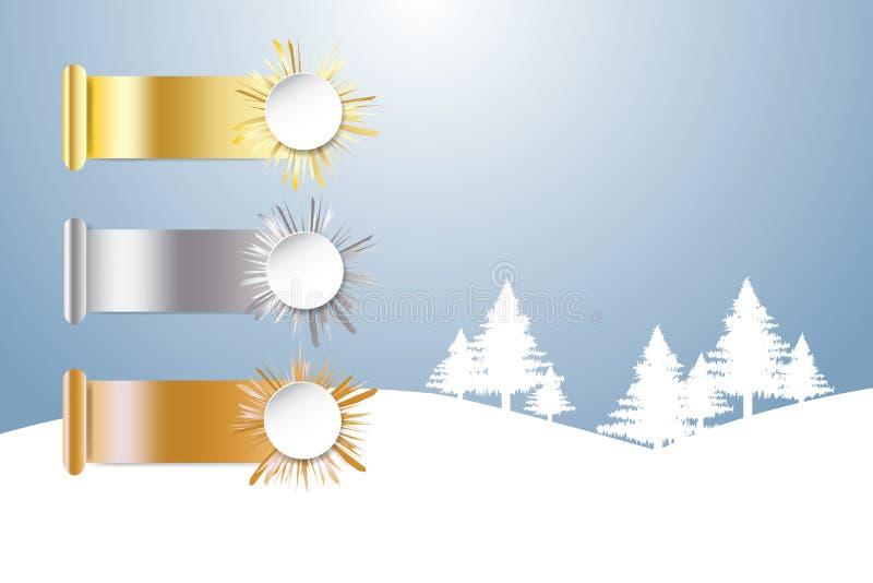 Guld-, silver och bronzfärgade sportar rangordna och övervintra snölandskapet royaltyfri illustrationer