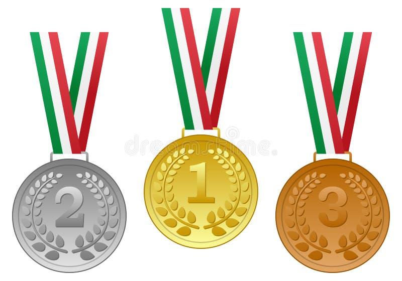Guld- silverbronsmedaljuppsättning vektor illustrationer