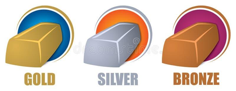 Guld- silverbronsstänger stock illustrationer