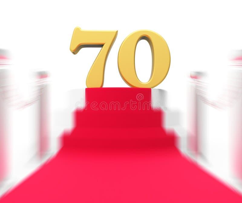 Guld- sjuttio på röd matta visar det kändisminnet stock illustrationer
