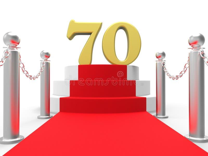 Guld- sjuttio på röd matta visar kändisar royaltyfri illustrationer