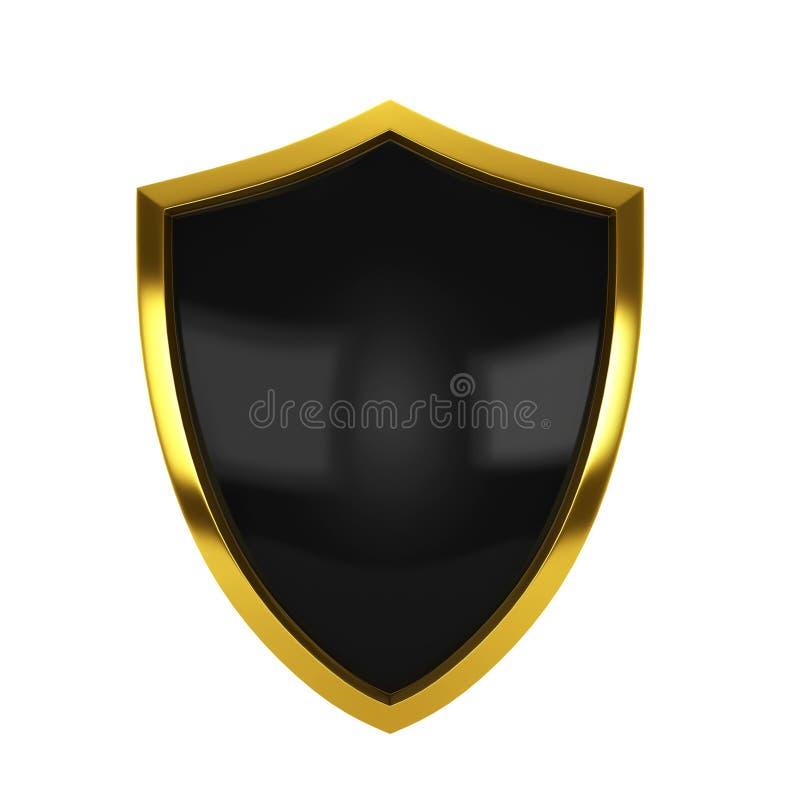 guld- sköld royaltyfri illustrationer