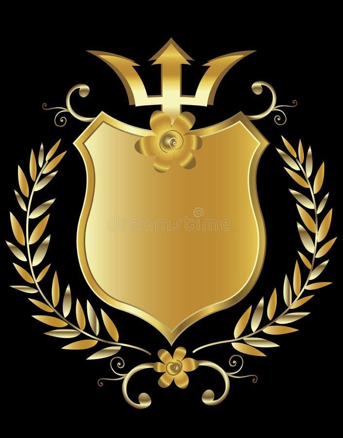 guld- sköld stock illustrationer