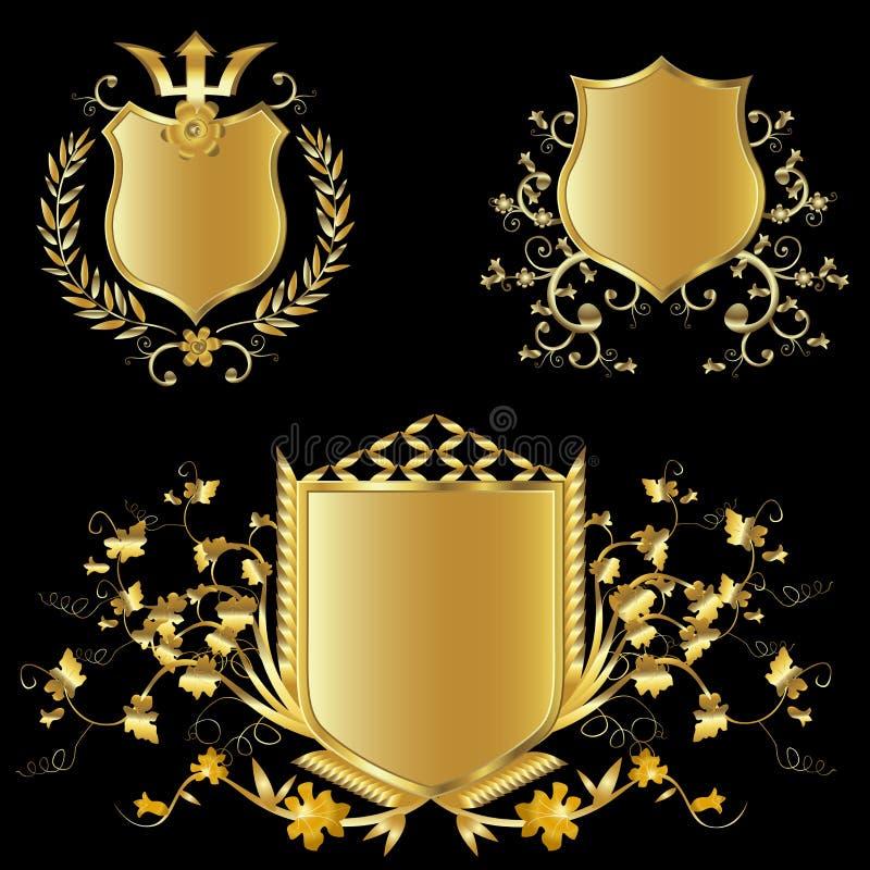 guld- sköldar stock illustrationer