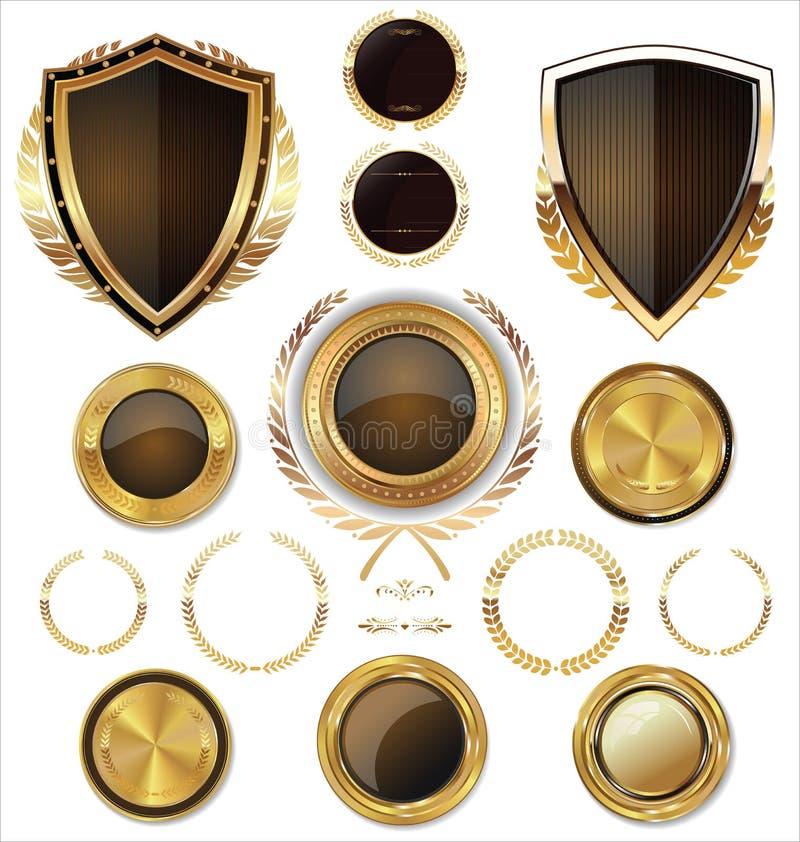 Guld- sköldar, etiketter och lager, brun upplaga stock illustrationer
