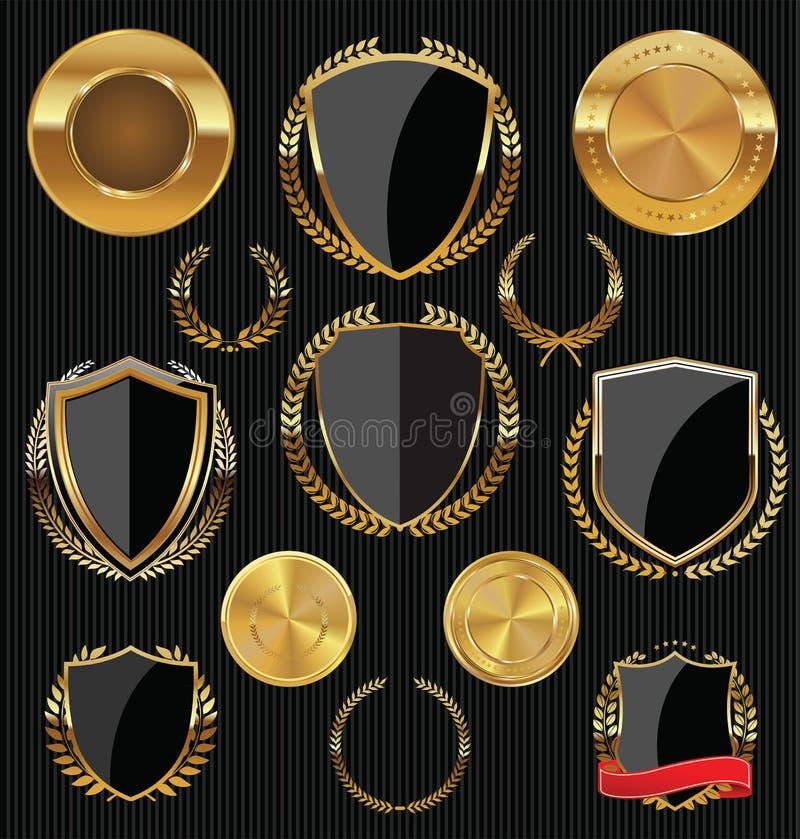 Guld- sköldar, etiketter och lager, guld och svartsamling stock illustrationer