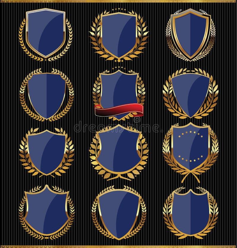 Guld- sköldar, etiketter och lager, mörker - blå upplaga stock illustrationer