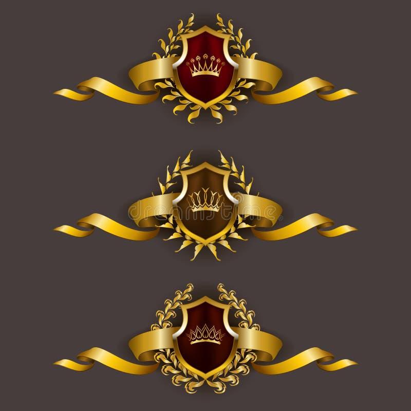 Guld- sköldar med lagerkransen stock illustrationer