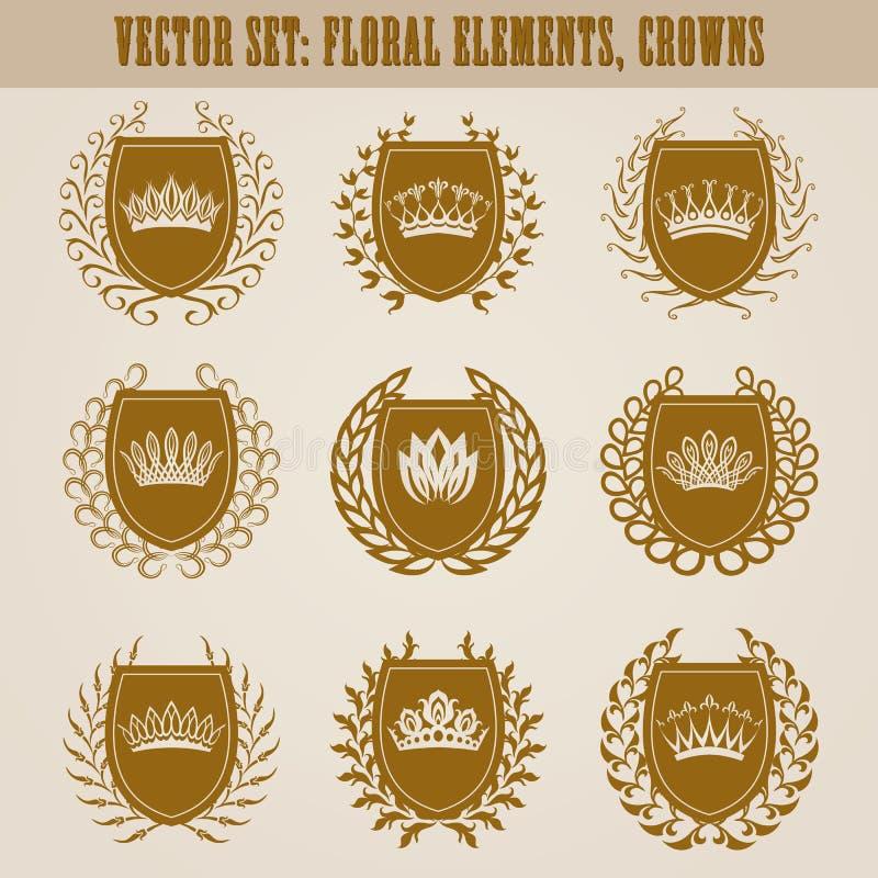 Guld- sköldar med lagerkransen royaltyfri illustrationer