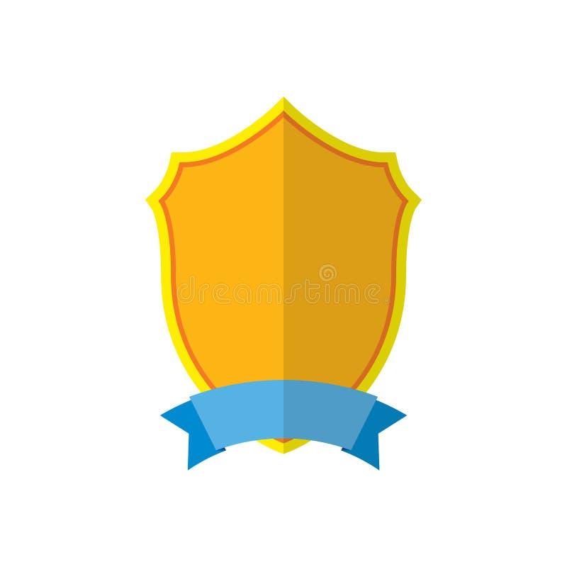 Guld- sköldemblemsymbol Guld- teckenkontur som isoleras på vit bakgrund Symbol av trofén, heraldisk utmärkelse, kunglig person royaltyfri illustrationer