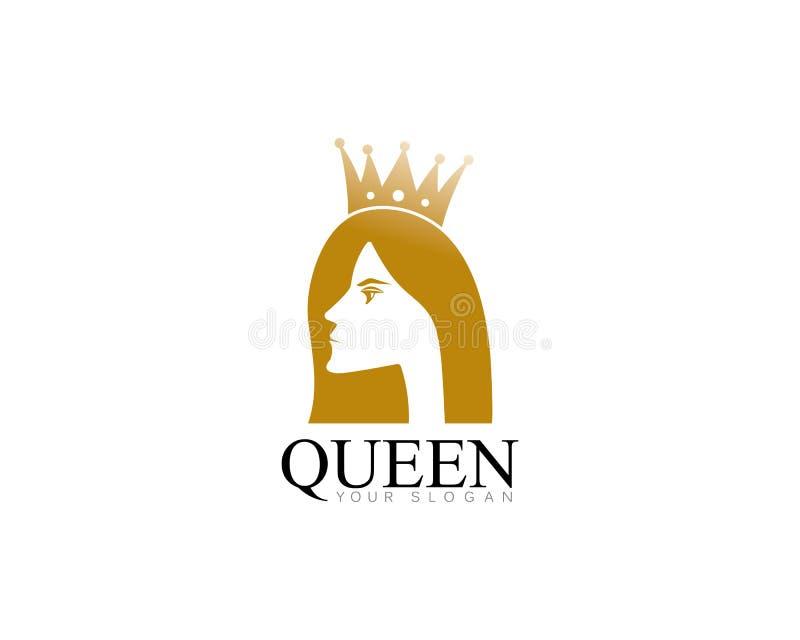 guld- skönhetdrottning med illsutration för vektor för kronamalllogo royaltyfri illustrationer