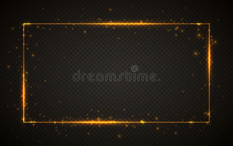 Guld- skinande blänker den glödande tappningramen med ljuseffekter Skinande rektangelbaner på svart genomskinlig bakgrund vektor stock illustrationer