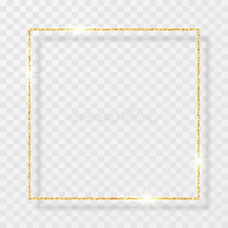 Guld- skinande blänker den glödande tappningramen med skuggor som isoleras på genomskinlig bakgrund Guld- lyxig realistisk rektan vektor illustrationer