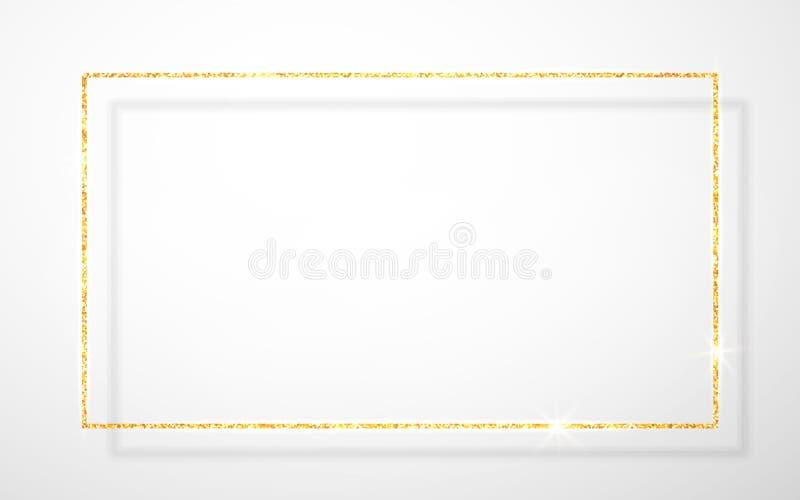 Guld- skinande blänker den glödande tappningramen med skuggor som isoleras på genomskinlig bakgrund Guld- lyxig realistisk rektan stock illustrationer
