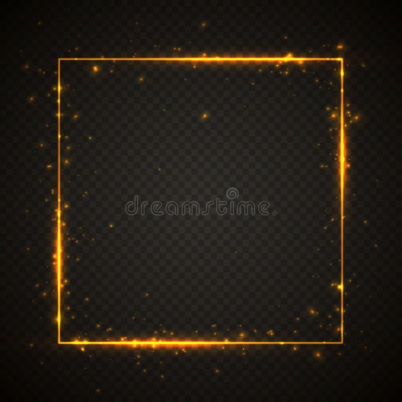Guld- skinande bl?nker den gl?dande tappningramen med ljuseffekter Skinande fyrkantigt baner på svart genomskinlig bakgrund vekto royaltyfri illustrationer