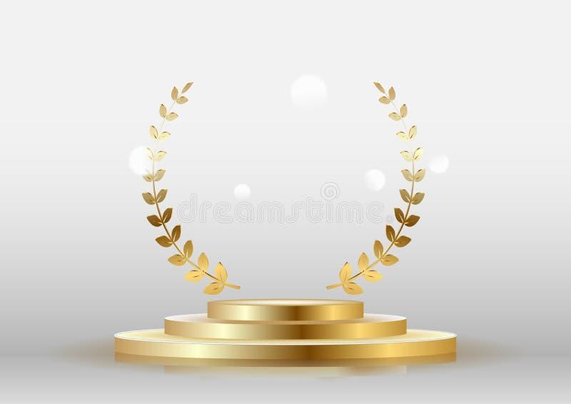 Guld- skinande emblembelöningar med en lagerkrans med ett podium royaltyfri illustrationer
